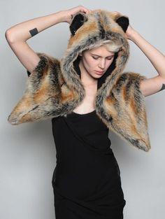 Red fox SpiritHood shawl