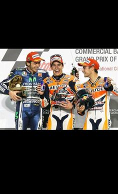 Marc marquez 1st, Valentino Rossi 2nd and dani pedrosa 3rd on the podium after the first race of the season at quatar 2014