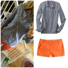 Navy gingham and orange shorts