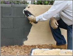 Cinder block and quikrete wall. Great for Spanish bungalow!