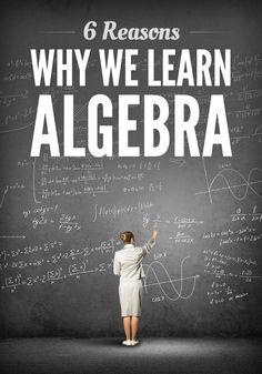 6 reasons why we learn algebra math resources наука Algebra Activities, Maths Algebra, Math Resources, Algebra Projects, Calculus, Math Fractions, Math Games, Math Teacher, Math Classroom
