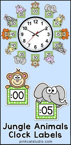 These fun jungle animals theme labels will look fantastic around your classroom clock! The polka dot frames and silly animal characters are sure to inspire your students to practice telling time. By Pink Cat Studio Classroom Clock, Classroom Labels, Classroom Design, Kindergarten Classroom, Classroom Organization, Jungle Theme Classroom, Classroom Themes, Clock Labels, Jungle Animals