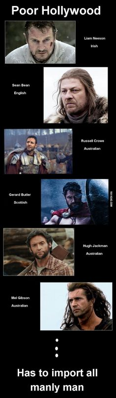 Poor Hollywood Actually, Mel Gibson is from New York, not Australia. But agree with the others.