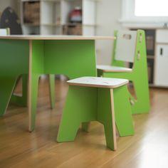 Green Kids Stool in Playroom