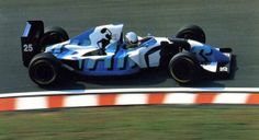"""The Ligier of Martin Brundle had one of the prettiest sponsor liveries in history. The abstracted """"Gitanes"""" cigarette paint scheme took over the whole car and the effect was utterly beautiful while. Ferrari, Mclaren Mercedes, F1 Racing, Racing Team, Honda, Formula 1 Car, Drag Cars, Indy Cars, Car And Driver"""