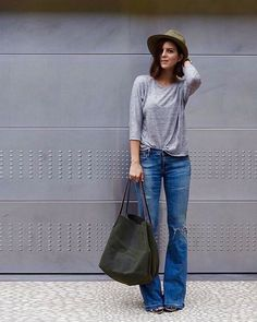 + 3 piece rule: grey top, flared denim, and that olive flop hat. Remember bags…