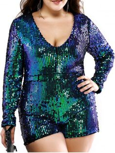 GET $50 NOW | Join RoseGal: Get YOUR $50 NOW!http://www.rosegal.com/plus-size-bottoms/plus-size-stylish-plunging-neck-sequined-romper-601768.html?seid=6860789rg601768