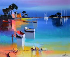 painting by Eric Le Pape (La plage rose) Bright Paintings, Watercolor Paintings Abstract, Modern Art Paintings, Seascape Paintings, Landscape Paintings, Abstract Art, Watercolor Artists, Indian Paintings, Oil Paintings