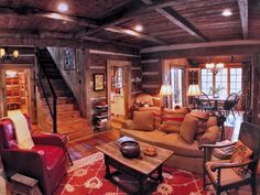 Gorgeous rustic cabin living space.  This is absolutely my lake house dream home!!!  timthumb.php (980×735)