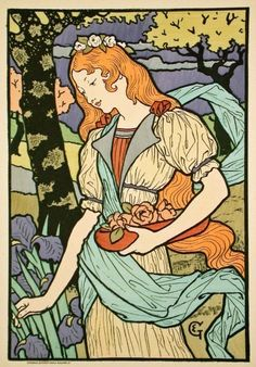 Famous Lithograph Prints   ART NOUVEAU Lithograph Print by Famous Illustrator Eugene Grasset ...