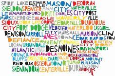 IOWA State Digital Illustration with Des Moines Dubuque Cedar Rapids. $15.00, via Etsy.