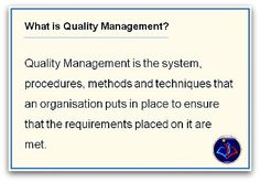 Take this free quality management training where we go through various aspects of Quality management.  Best of Luck!