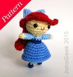 Little Mermaid in Blue Dress Doll Crochet Pattern by JanaGeek