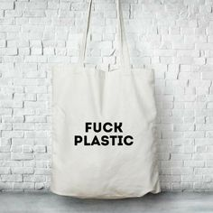 Cotton Tote bag fuck plastic, Canvas tote bag with zipper and pocket, reusable tote bag, zero waste - bolsas para mercar Sacs Tote Bags, Canvas Tote Bags, Canvas Totes, Tote Bag With Pockets, Custom Tote Bags, Reusable Grocery Bags, Linen Bag, Fabric Bags, Shopper Bag