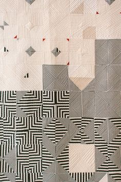 """Patchwork quilt by Pamela Wiley for 🎯 Motifs Textiles, Textile Patterns, Textile Art, Modern Quilt Patterns, Anthropologie Art, Black And White Quilts, Quilt Modernen, Contemporary Quilts, Patchwork Quilting"