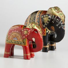 One of my favorite discoveries at WorldMarket.com: Red and Black Anchita Elephant Tabletop Décor