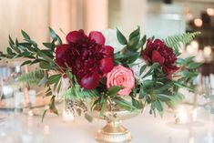 Free Flowing Bouquet | Golden Vases | Posh Floral Designs | Navy Bridesmaids Dresses | Coral and Red Bouquets