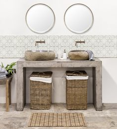 Prima 500 150cm Light Weight Concrete Vanity   Featuring Small & Medium Maputo Riverstone Wash Basins   Shop Schots Bathroom collections in Melbourne & Geelong, Australia or online at www.schots.com.au