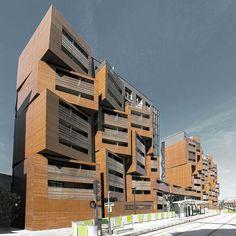 Ofis, Basket Apartments, Casa dello studente con 192 monolocali, Parigi, Francia 2012. Il sito ha una configurazione molto particolare, con i suoi 11 metri di larghezza e una estensione di circa 200 metri