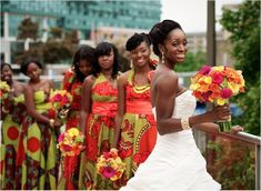 Siera Leon wedding...What gorgeous colors for a wedding! Look hiw the flowers blend with the colors in the dresses!