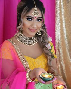 "jeevahi on Instagram: ""Love the colours💛💚💗 #festivaloflights #diwali #happydiwali MUAH: @allurebyhamsha Outfit: @sharmilaakdesigns Henna: @ornahenna Decor:…"""