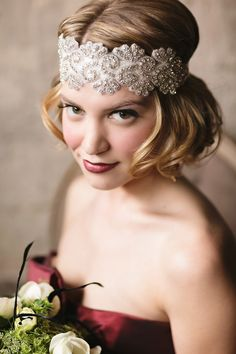 Headpiece by Hems & Bustles.