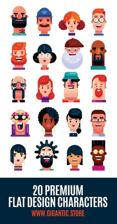 20 Premium Flat Design Characters - Flat Art Portraits If you need a flat design faces for animation, graphic design or inspiration, this packet is perfect for you. Enjoy beautiful look of Gigantic Premium Craw ; Icon Design, Graphisches Design, Design Room, Vector Design, Vector Art, Study Design, Illustration Simple, Illustration Design Graphique, Illustration Vector