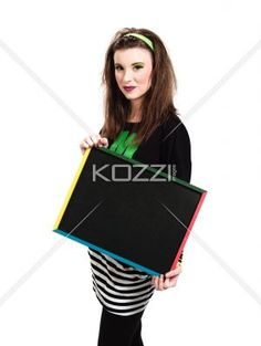 portrait of a young female holding a blank slateboard. - Portrait of a young female holding a blank slateboard against white background. Model:  Megan Butt