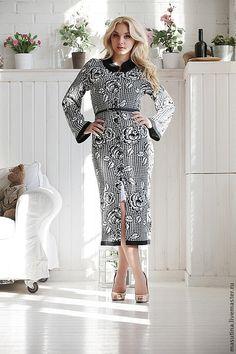 """Купить Пальто""""Lady"""" - чёрно-белый, пальто, вязаное пальто, жаккардовое пальто, пальто с принтом"""