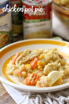 Our favorite recipe for Chicken Pot Pie - filled with chicken, corn, carrots and hard-boiled eggs, it's one the whole family loves! { lilluna.com }