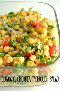 Quinoa & Chickpea Tabbouleh Salad Vegan Recipes from Cassie Howard Veggie Recipes, Appetizer Recipes, Whole Food Recipes, Vegetarian Recipes, Cooking Recipes, Healthy Recipes, Vegan Chickpea Recipes, Quinoa Recipes Lunch, Sunday Lunch Ideas