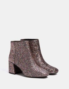 Shiny mid-heel ankle boots. Discover this and many more items in Bershka  with f2d640fafb4