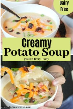 A creamy and ham and potato soup made with dairy! Ultra creamy and comforting. Ham And Potato Soup, Creamy Potato Soup, Paleo Soup, Healthy Soup, Gluten Free Dinner, Paleo Dinner, Paleo Recipes, Real Food Recipes, One Skillet Meals