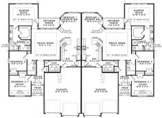 This duplex home plan with traditional details (Multi-Family House Plan has 1520 sq. of living space and 3 bedrooms per unit. Dream Home Design, Home Design Plans, Plan Design, House Design, Design Ideas, Family House Plans, Dream House Plans, Small House Plans, Duplex Floor Plans