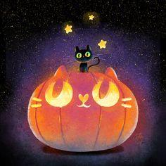 halloween cat and pumpkin art Kawaii Halloween, Theme Halloween, Cute Halloween, Halloween Pumpkins, Halloween Witches, Halloween Decorations, Halloween Illustration, Halloween Drawings, Halloween Pictures