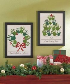 Christmas Tree and Christmas Wreath Hand Print Art and other ideas