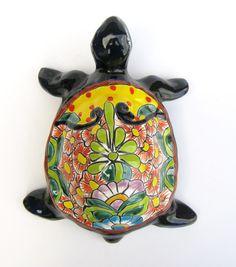 "MEXICAN TALAVERA POTTERY TURTLE SCULPTURE 12 1/2"" ANIMAL FIGURE"