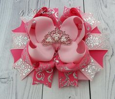 Princess Beauty Crown Party hairbows rhinestone Bow