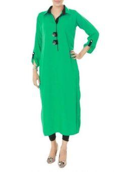Pakistani Fashion Wear Green Long Woman Kurta Kurti Tunic Top Salwar Kameez