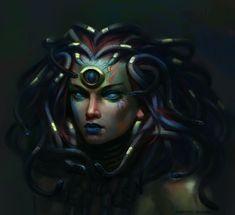 Medusa - Monstrosity -- DnD Monsters #DungeonCrawling #DnD #Monsters #Monstrosity #Medusa #Inspiration #Magic #Fantasy #JRusso Medusa Art, Medusa Gorgon, Fantasy Women, Fantasy Art, Medusa Tattoo Design, Snake Goddess, Ancient Egypt Art, Beautiful Goddess, Beautiful Ladies