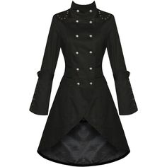 WOMENS LADIES NEW BLACK GOTHIC STEAMPUNK MILITARY COTTON COAT JACKET ❤ liked on Polyvore