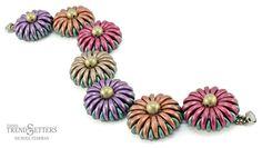 Chrysanthemum Bracelet | CzechMates Crescent | Free TrendSetter pattern by Nichole Starman