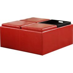 Cocktail Storage Ottoman with 4 Trays, Red Faux Leather