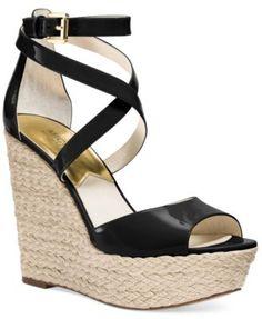 MICHAEL Michael Kors Gabriella Platform Wedge Sandals-Pale Gold or Black Patent -$105.00