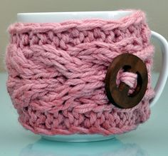Crochet Mug Cozy...how cute is this!??! I would totally dress up my hot chocolate or coffee ;)