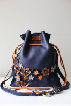 Blue Bag, Floral Bag, Drawstring bag, Leather Pouch Bag, Floral Crossbody Bag, Summer Purse, Mini Crossbody Bag, Bucket Bag, Blue Handbag, Handmade Bag, Bag on Etsy, Flower Pattern, Bag with Flowers, Designer Bag #floralbag #pouch #leatherbag #designerbag