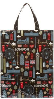 Harrods Glitter London Medium Gusset Bag
