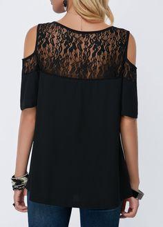 74e89eecfb2 Black Lace Panel Cold Shoulder Blouse | liligal.com - USD $30.64 Diy Cutout  Shirt