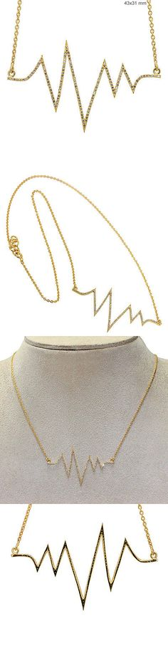 Necklaces and Pendants 52600: Women S Day Gift 18K Gold Diamond Pave Heart Beat Pendant Chain Necklace Jewelry -> BUY IT NOW ONLY: $708.8 on eBay!