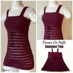 Free crochet pattern for the Dream On Puffs Summer Top. The crochet tube top is crocheted in a fine yarn that gives a lot of stretch for a comfortable fit.